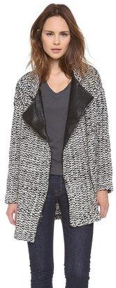 Dolan Tweed Blazer with Leather Trim