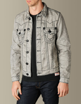 True Religion Mens Jimmy Super T Western Denim Jacket - (Symb Nomad Black)