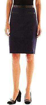 Liz Claiborne Pleather-Trim Pencil Skirt