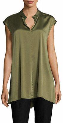 Eileen Fisher Cap-Sleeve Stretch-Silk Top