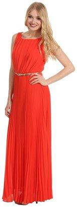 Eliza J S/L Accordian Pleated Maxi Dress w/ Belt
