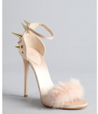 Giuseppe Zanotti pale pink suede and satin fur strapped studded sandals