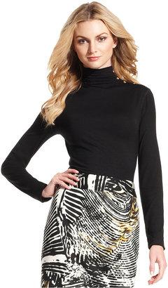 Calvin Klein Top, Long-Sleeve Buttoned Turtleneck