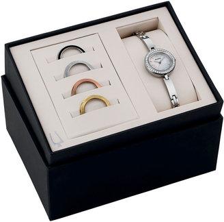 Bulova Womens Interchangeable Bezel Stainless Steel Bracelet Watch Set 98X107 $299 thestylecure.com