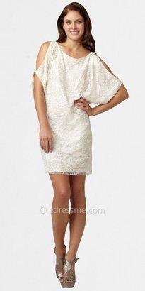 Aidan Mattox Lace Cold-shoulder Beaded Short Prom Dresses