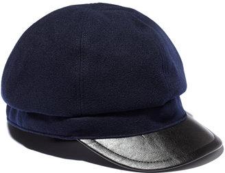 Vince Camuto Wool Cap w/ Faux Leather Brim