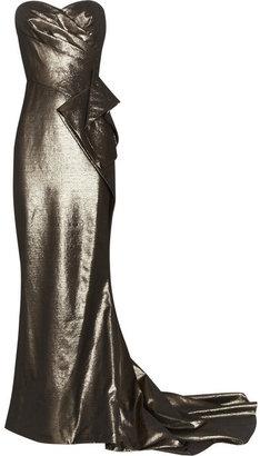 Marchesa Draped lamé gown