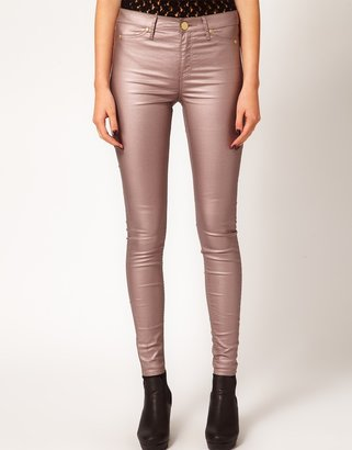 River Island Molly Jegging In Rose Gold Finish