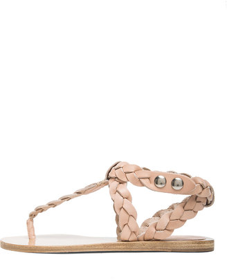 Isabel Marant Brina Braided Calfskin Leather Sandals in Nude