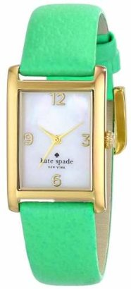 Kate Spade Women's 1YRU0208 Cooper Gold-Tone Watch with Green Leather Band