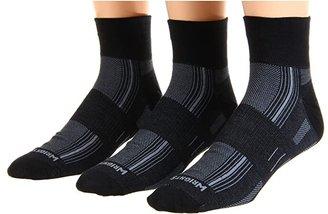 Wrightsock DL Stride Qtr 3 Pair Pack (Black) Quarter Length Socks Shoes