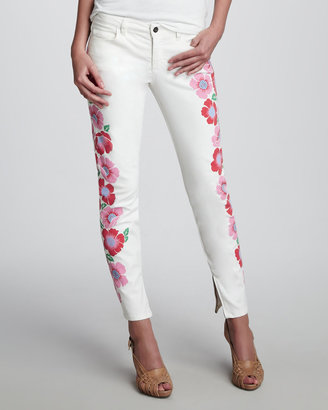 Theory Floral-Print Skinny Jeans