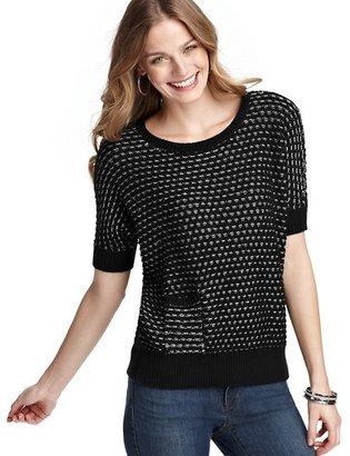 LOFT Textural Stitch Cotton Pocket Sweater