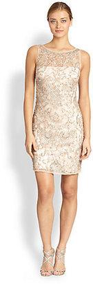 Aidan Mattox Embellished Lace Illusion Dress