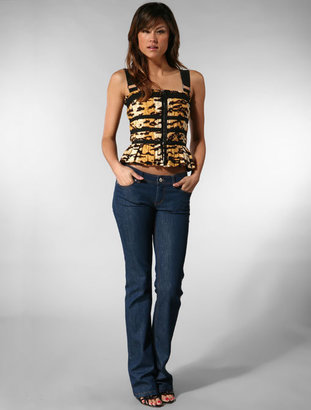 D&G Dolce & Gabbana Tiger Printed Zip Front Bustier in Multi