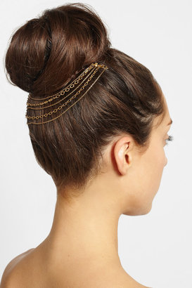 Gold-tone tiered multi-chain headpiece