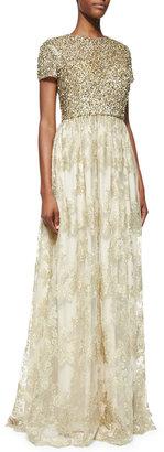 Badgley Mischka Short-Sleeve Sequin-Bodice Gown