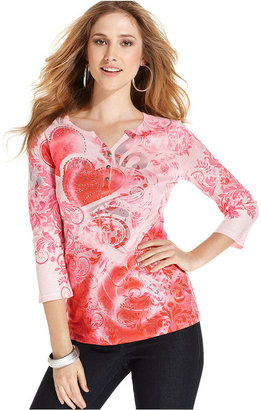 Style&Co. Top, Three-Quarter-Sleeve Printed Henley