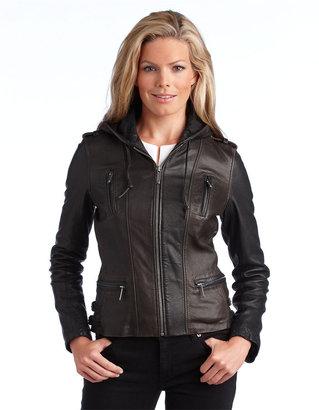 MICHAEL Michael Kors Hooded Leather Moto Jacket