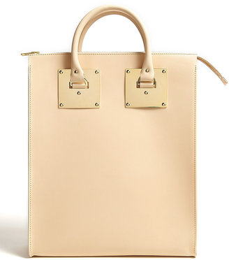 Sophie Hulme Large Leather Zip Top Tote With Gold Plated Hardware