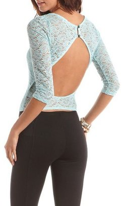 Charlotte Russe Glitter Lace Open-Back Top