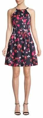 Vince Camuto Pleated Floral Fit--Flare Dress