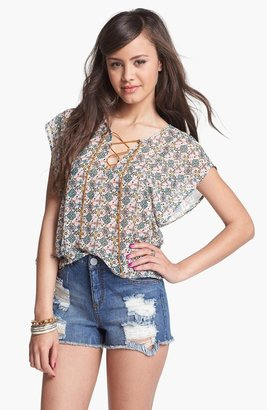 Fire High Waist Destroyed Denim Cutoffs (Medium) (Juniors)