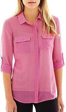 JCPenney I 'Heart' Ronson® Polka Dot Roll-Cuff Shirt