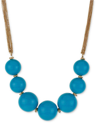 Kenneth Cole New York Necklace, Gold-Tone Turquoise-Colored Bead Frontal Necklace