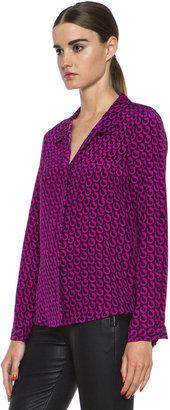 Diane von Furstenberg Lorelei Print Silk Shirt in Leo Chain Mink Pink