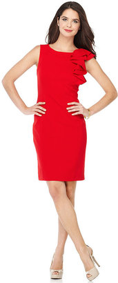 Calvin Klein Dress, Sleeveless Ruffled Cap Sleeve Red Sheath