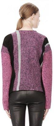 Alexander Wang Boiled Tweed Crewneck Baja Pullover