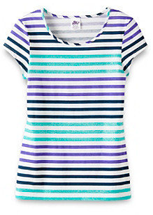 Little Miss Attitude Girls' 2T-6X Short Sleeve Glitter Striped Tee