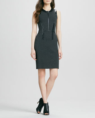 Milly Samantha Dress with Leather Trim