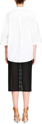 Carven Stretch Mesh Pencil Skirt