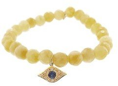 Sydney Evan Diamond Evil Eye on Faceted Yellow Jade - Yellow Gold