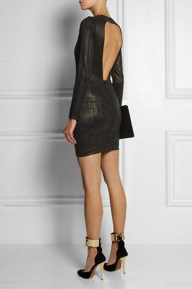 Roberto Cavalli Embroidered leather dress