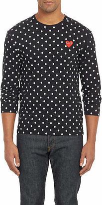 Comme des Garcons Men's Heart Polka Dot Cotton T-Shirt - Black