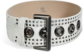 McQ by Alexander McQueen Leather Eyelet Belt in White
