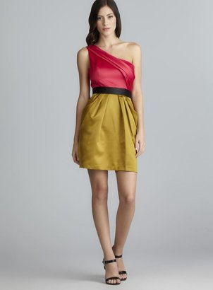 Max & Cleo One Shoulder Two Pocket Colorblock Cocktail Dress