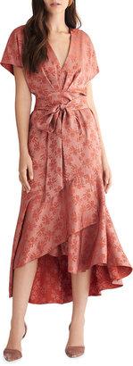 Sachin + Babi V-Neck Floral Jacquard High-Low Dress
