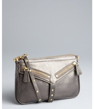 Botkier pewter leather 'Trigger Moto' clutch