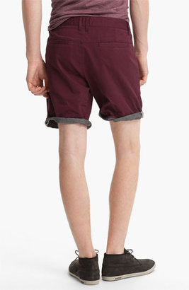 Topman Turn-Up Chino Shorts Burgundy 36