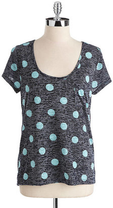 Vince Camuto TWO BY Polka Dot Scoopneck Pocket Tee