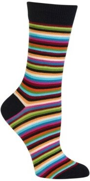 Hot Sox Women's Stripe Fashion Crew Socks