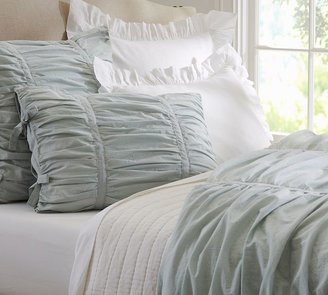 Pottery Barn Hadley Ruched Duvet Cover & Sham - Gray Mist