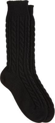 Corgi Cashmere Cable Knit Mid Calf Socks
