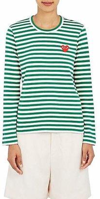 Comme des Garcons Women's Heart Striped Cotton T-Shirt - Green, White