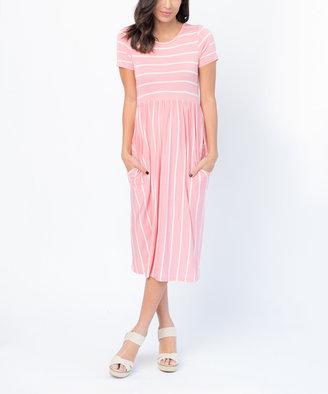 Pink Stripe Pocket-Accent Midi Dress