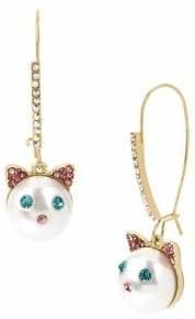 Betsey Johnson Just Kitten White Faux Pearl Cat Face Drop Earrings